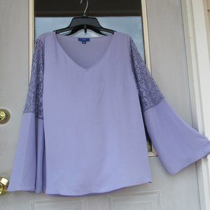NWT Apt 9 boho bell sleeve w lace accent top size